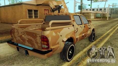 Toyota Hilux Siria Rebels without flag для GTA San Andreas вид сзади слева