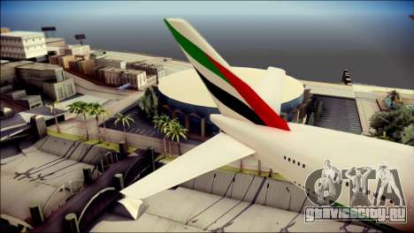 Airbus A380-800 Fly Emirates Airline для GTA San Andreas вид сзади слева
