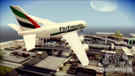 Airbus A380-800 Fly Emirates Airline для GTA San Andreas вид слева