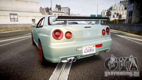 Nissan Skyline R34 GT-R M-Spec Nur для GTA 4 вид сзади слева