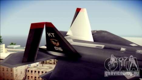 F-22 Raptor Razgriz для GTA San Andreas вид сзади слева