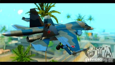SU-34 Fullback Russian Air Force Camo Blue для GTA San Andreas вид слева