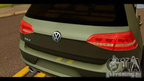 Volkswagen Golf Mk7 2014 для GTA San Andreas вид сзади