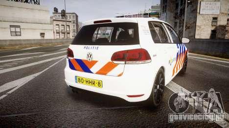 Volkswagen Golf Mk6 Dutch Police [ELS] для GTA 4 вид сзади слева
