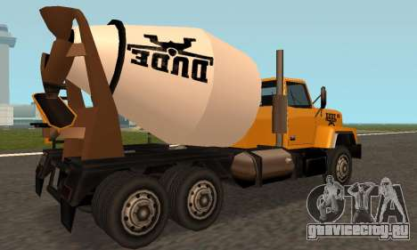 Cement Truck Fixed для GTA San Andreas вид справа