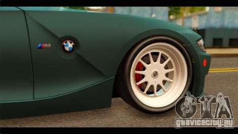 BMW Z4M Coupe для GTA San Andreas вид сзади слева