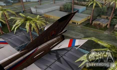 MIG-21MF Slovak Air Force SLP для GTA San Andreas вид сзади слева