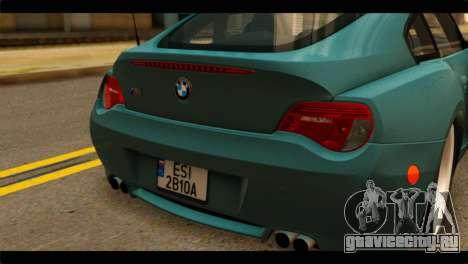 BMW Z4M Coupe для GTA San Andreas вид сзади