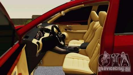 Lexus NX200T v2 для GTA San Andreas вид сверху