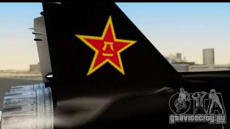 Mikoyan-Gurevich MIG-31 China Air Force для GTA San Andreas вид справа