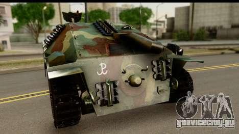 Jagdpanzer 38(t) Hetzer Chwat для GTA San Andreas вид сзади слева