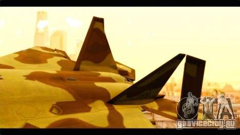F-22 Raptor Desert Camouflage для GTA San Andreas вид сзади слева