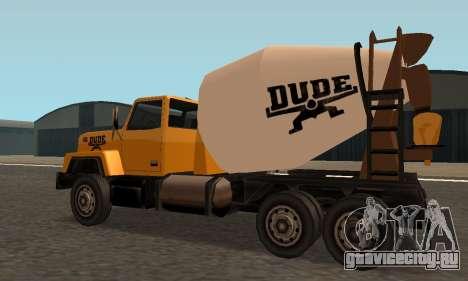 Cement Truck Fixed для GTA San Andreas вид сзади слева