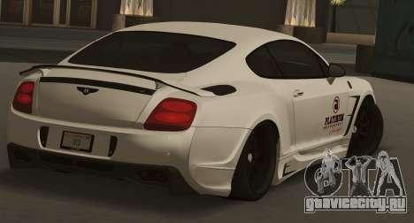 Bentley Continental GT Platinum Motorsport для GTA San Andreas вид слева