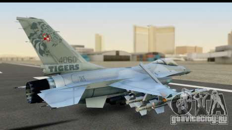 F-16C Polish Air Force Tigers для GTA San Andreas вид сзади слева
