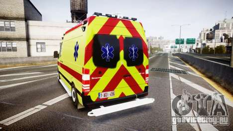 Mercedes-Benz Sprinter 311 cdi Belgian Ambulance для GTA 4 вид сзади слева