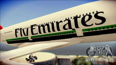 Airbus A380-800 Fly Emirates Airline для GTA San Andreas вид сзади