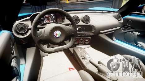 Alfa Romeo 4C 2014 HD Textures для GTA 4 вид сзади