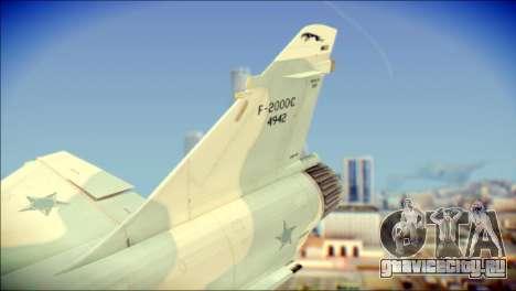Dassault Mirage 2000-C FAB для GTA San Andreas вид сзади слева