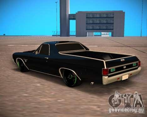 Chevrolet El Camino SS Green Hornet для GTA San Andreas вид сзади слева