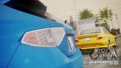 Subaru Impreza WRX STI 2008 PJ для GTA San Andreas вид сзади