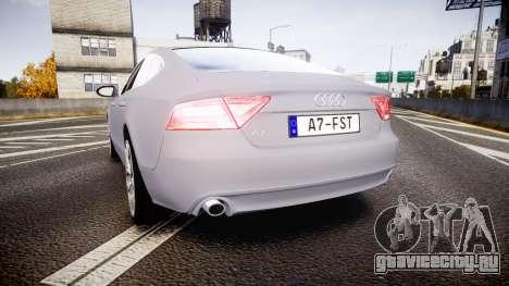 Audi A7 для GTA 4 вид сзади слева