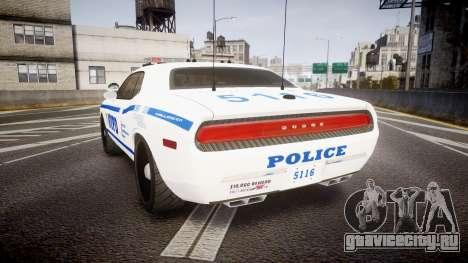 Dodge Challenger NYPD [ELS] для GTA 4 вид сзади слева