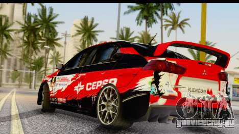 Mitsubishi Lancer Evo X Nunes для GTA San Andreas вид слева
