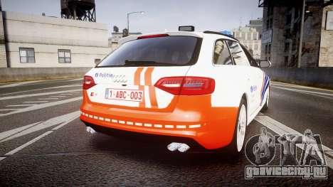 Audi S4 Avant Belgian Police [ELS] orange для GTA 4 вид сзади слева