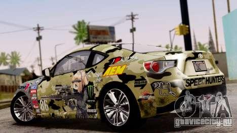 Toyota GT86 (ZN6) 2012 PJ для GTA San Andreas вид изнутри