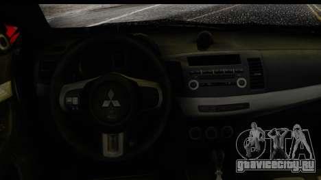 Mitsubishi Lancer Evo X Nunes для GTA San Andreas вид справа