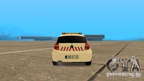 BMW 120i E87 Hungarian Police для GTA San Andreas вид сзади слева