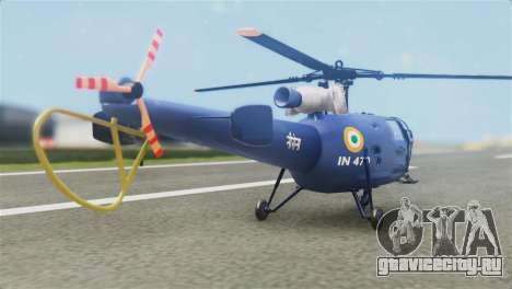 Indian Navy CHETAK Heli Skin для GTA San Andreas вид слева