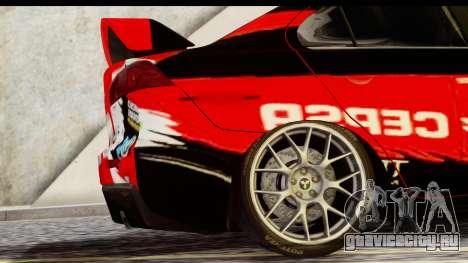 Mitsubishi Lancer Evo X Nunes для GTA San Andreas вид сзади слева