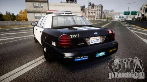 Ford Crown Victoria 2011 LAPD [ELS] rims2 для GTA 4 вид сзади слева