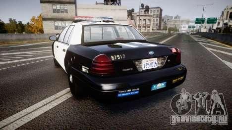 Ford Crown Victoria 2011 LAPD [ELS] rims2 для GTA 4 вид сзади слева