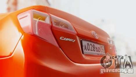 Toyota Camry 2012 для GTA San Andreas вид сбоку