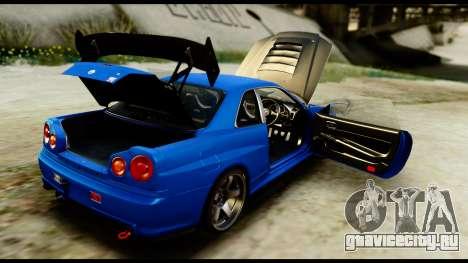 Nissan Skyline GT-R (BNR34) Tuned для GTA San Andreas вид изнутри
