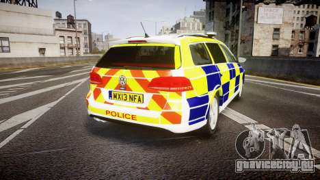 Volkswagen Passat B7 North West Police [ELS] для GTA 4 вид сзади слева