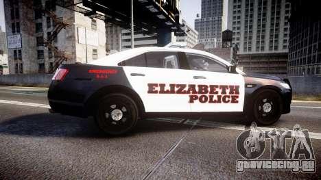 Ford Taurus 2010 Elizabeth Police [ELS] для GTA 4 вид слева