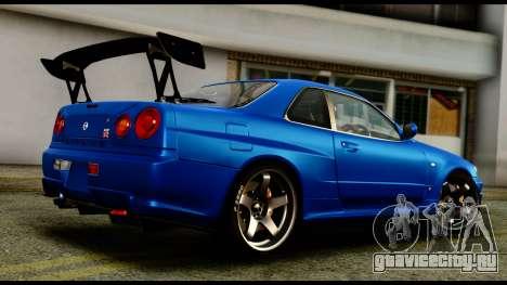 Nissan Skyline GT-R (BNR34) Tuned для GTA San Andreas вид слева