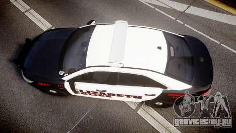 Ford Taurus 2010 Elizabeth Police [ELS] для GTA 4 вид справа