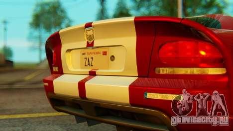 Dodge Viper SRT10 для GTA San Andreas вид сзади