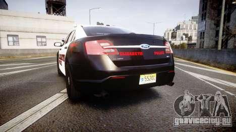 Ford Taurus 2010 Elizabeth Police [ELS] для GTA 4 вид сзади слева