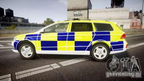 Volkswagen Passat B7 North West Police [ELS] для GTA 4 вид слева