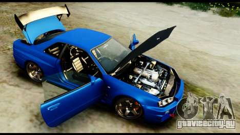 Nissan Skyline GT-R (BNR34) Tuned для GTA San Andreas вид сзади