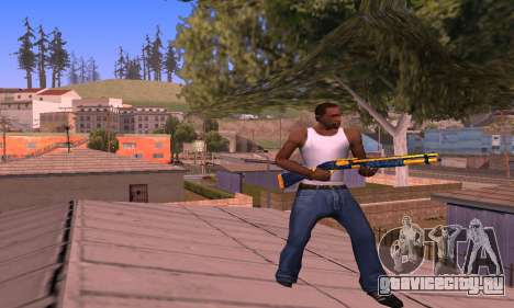 Shotgun BlueYellow для GTA San Andreas третий скриншот