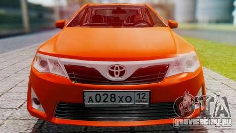 Toyota Camry 2012 для GTA San Andreas вид сзади слева