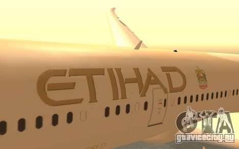 Boeing 787-9 Etihad Airways для GTA San Andreas вид справа