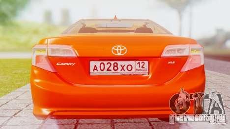 Toyota Camry 2012 для GTA San Andreas вид справа